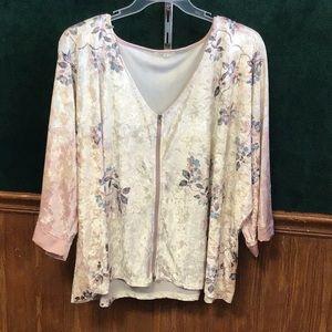 Maurices 2x 3x velvet 3/4 sleeve top shirt zip up